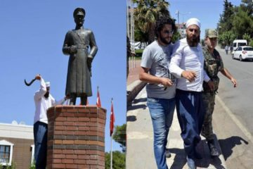 Radical Islamist man attacks Atatürk statue with sickle in Turkey