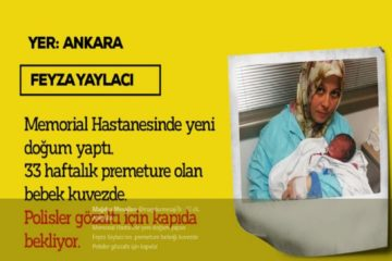 Turkish police wait to detain Feyza Yaylacı shortly after her delivery of a premature baby over alleged Gülen links