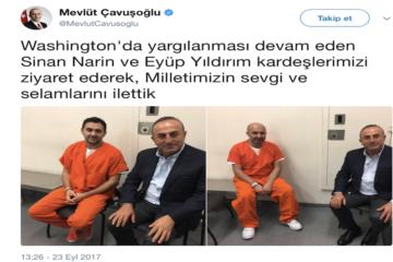 Turkish FM Çavuşoğlu visits Erdoğanist thugs in US prison