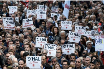 Thousands of CHP supporters hold sit-in protest in Taksim against OHAL