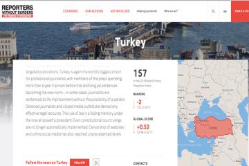 Turkey ranks 157th in RSF's 2018 World Press Freedom Index